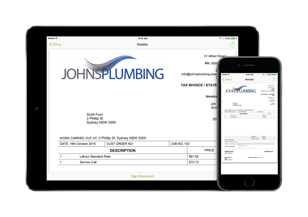 Produce your invoice and get client sign off and payment on the spot. GET YOUR LIFE BACK!
