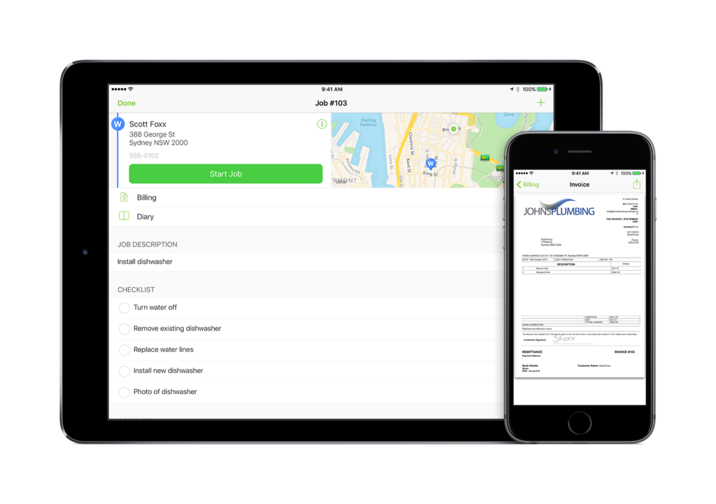 GPS guides you to the job, the job card shows exactly what needs to be done.