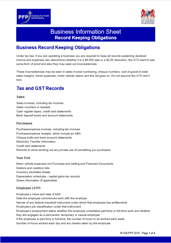 Record Keeping Obligations